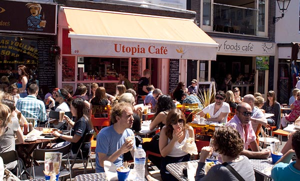 A sunny day in May brought out the cafe crowds in Brighton.