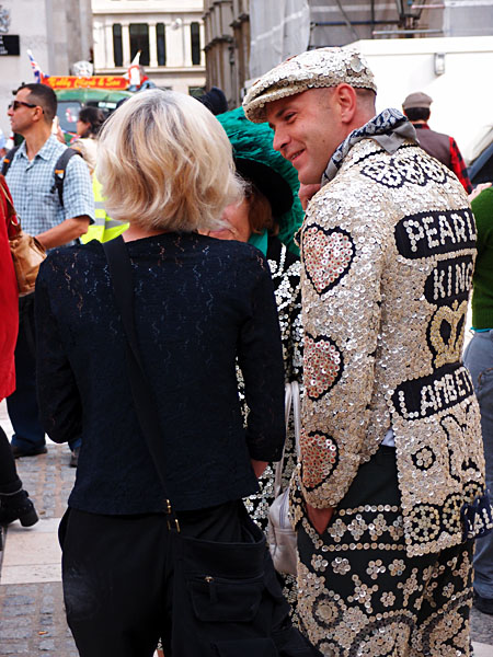 A Pearly King at the Pearly Kings and Queens Costermongers Harvest Festival 2011
