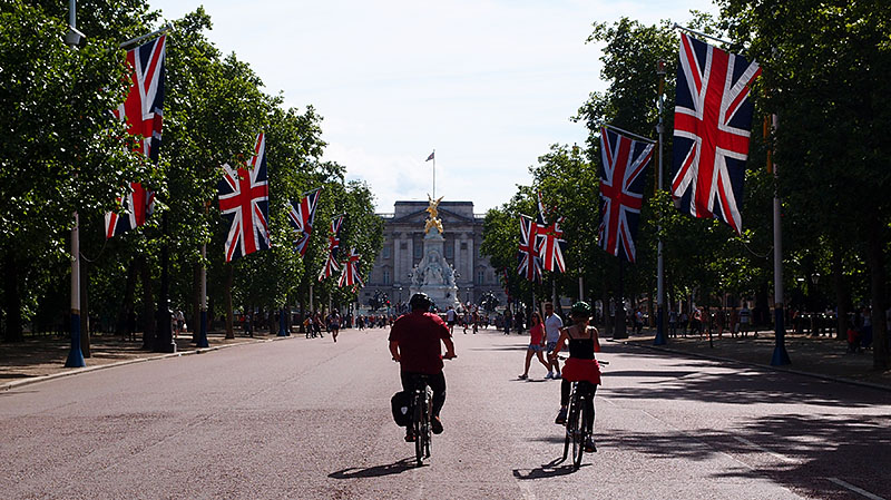 The view down the Mall towards Buckingham Palace in London