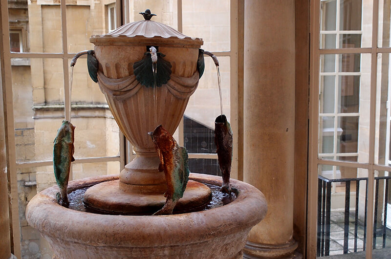 The water fountain at Bath's pumproom, you can taste the waters for just 50p