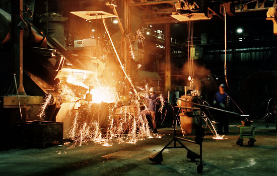 Sparks flying in the foundry, Joinville, Brazil.