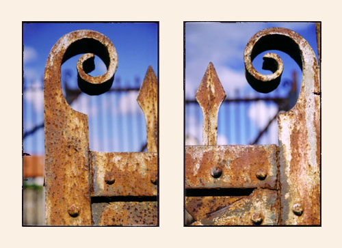 Detail of gates by the railroad tracks in Bristol.