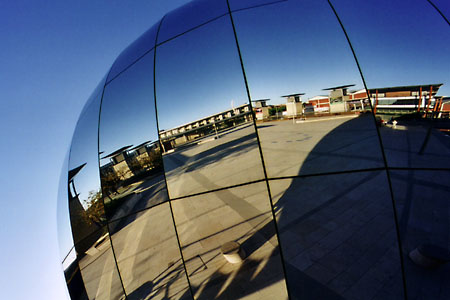 Big mirror-ball on Millenium Square.