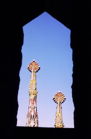 Detail of the spires on Sagrada Familia. Barcelona, Spain.