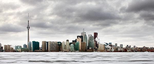 Toronto cityscape in winter