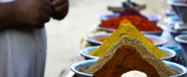 Spice piles in an Egyptian marketplace