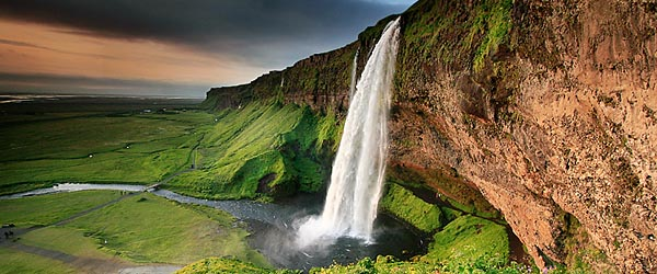 A waterfall in beautiful Iceland
