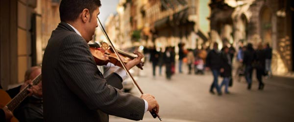 Street musician in Rome, Italy