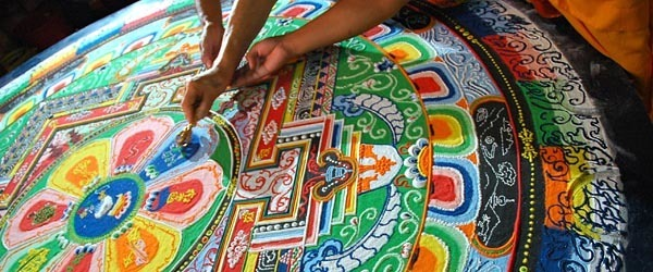 Drawing a Mandala in Nepal