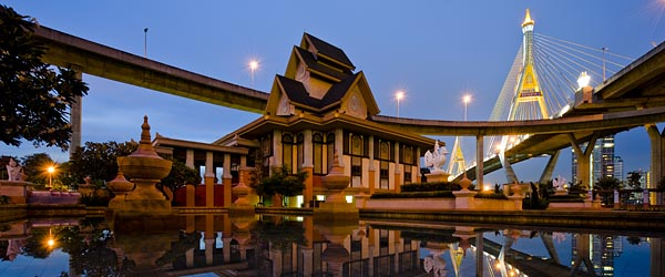 A monastery and bridge in Bangkok