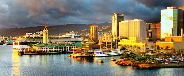 Honolulu harbor and marina at sunset