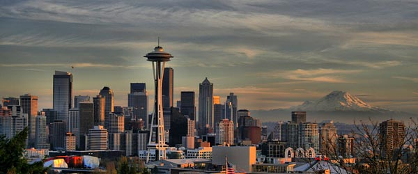 The Seattle skyline with the Space Needle and Mt. Rainier